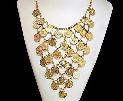 Vintage Egyptian Revival Faux Coin Bib Necklace Gold Tone Cleopatra Style 817
