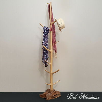 Hand Made Abstract Natural Teak Tree Wood Hat Stand