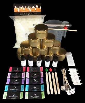 GOLD Tins- Soy Candle Making Kit (Everything you need to make 10 candles)