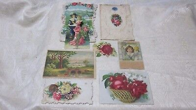 7 Pc Lot Antique Vintage Victorian Scraps Calling Card Trade Cards