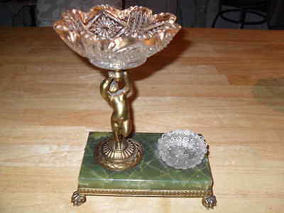Pairpoint Angel Scalloped Gold Leaf Bowl Marble Footed Desk Decorator Piece VTG