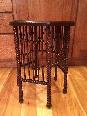 Antique Stick and Ball Fern Plant Stand Hex Top Twist Leg