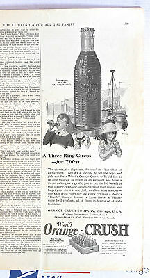 1923 magazine ad for Ward's Orange Crush - A Three Ring Circus for Thirst