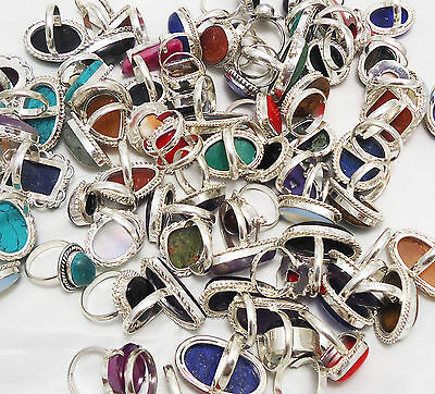 500Gram Ring Lot Mix Gemstone Wholesale New Jewelry 925 Sterling Silver Overlay