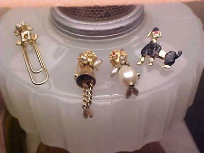 Lot Vintage 50s POODLE Pins Boy & Girl & Book Mark Pearl Dangles TOO CUTE