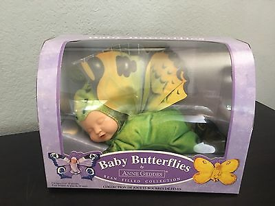"""Brand New Anne Geddes - Adorable 8"""" Baby Doll - Green Butterfly"""