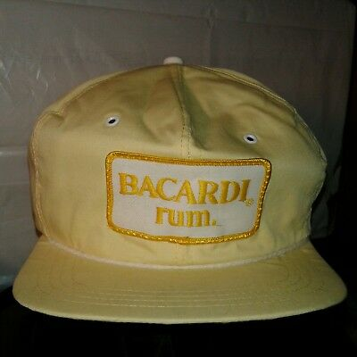Vintage Bacardi Rum Hat Snapback Cap GTH Embroidered Logo Made in USA Yellow