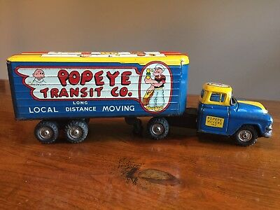 1950s LINEMAR POPEYE FRICTION TRUCK HAULER & TRAILER TRANSIT CO. Tin Toy 13""