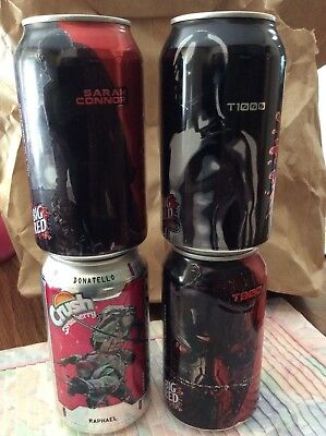 Terminator Genisys set of 3 cans plus 1 TMNT Crush can all bottom opened