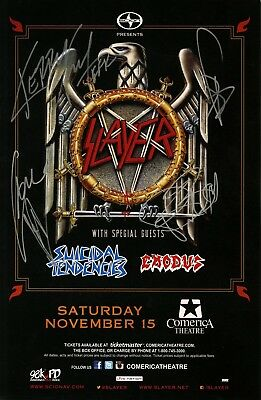 SLAYER authentic AUTOGRAPHED concert signed 2014 tour poster JSA GUARANTEED