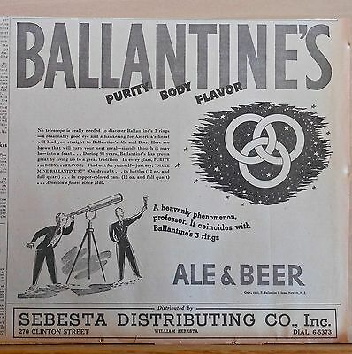 1937 newspaper ad for Ballantine's Ale & Beer, Astronomer sees 3 Rings of Purity