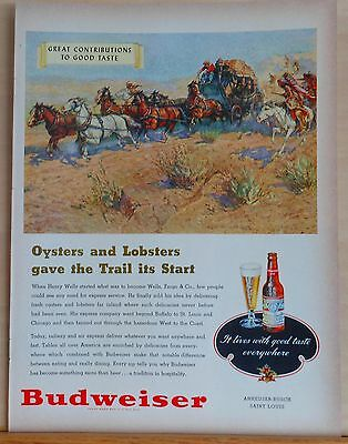 1948 magazine ad for Budweiser Beer - Wells Fargo stage delivers rare delicacies