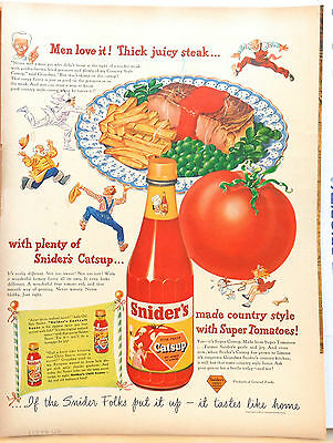 1948 magazine ad for Snider's Catsup - Made Country Style with Super Tomatoes