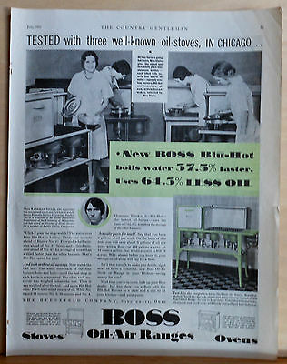 1931 magazine ad for Boss Blu-Hot Oil-Air Ranges - Katharyn Stults tests ranges