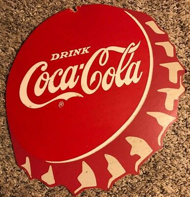 Vintage 1960's Coca-Cola Coke Cardboard Display Bottle Cap Advertising Sign