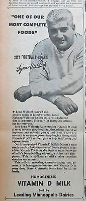 1946 newspaper ad for Minneapolis Dairies - Lynn Waldorf Northwestern Coach