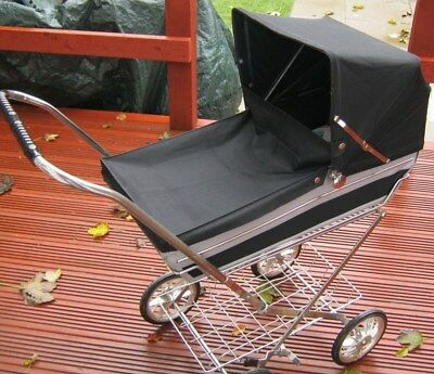 Vintage 1970's Doll's Pram & Mattress -  Dark Navy Blue & Grey  Genuine Old Pram