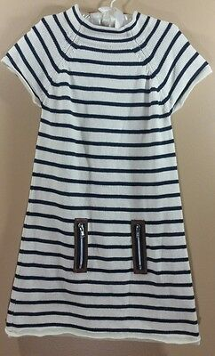 Lilly Wicket Girls Navy and Cream Striped Sweater Dress 100% Cotton Size 5-6