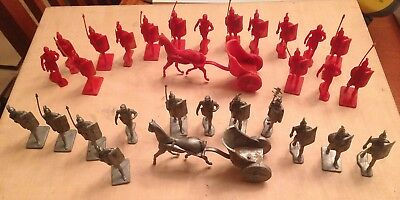 Vintage Marx Roman Army Soldier Lot Red and Silver MUST SEE