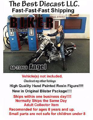 Biker Angel American Diorama 1:18 Figure Will fit on a 1:18th scale motorcycle