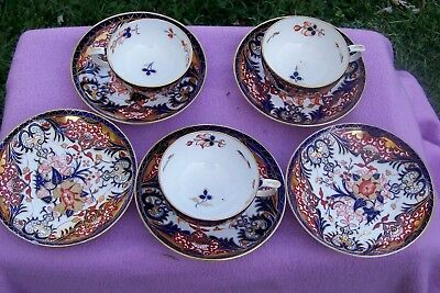 8 pieces old crown derby english cups and saucers imari pattern