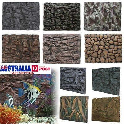 2Pcs 3D Foam PU Rock Reptile Aquarium Fish Tank Background Backdrop Plate