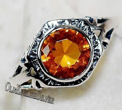 1CT Golden Citrine 925 Solid Sterling Silver Art Deco Filigree Ring Jewelry Sz 6
