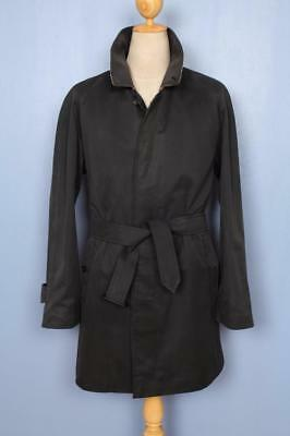 Mens BURBERRY Single Breasted Short TRENCH Coat Mac Black Size 40/42