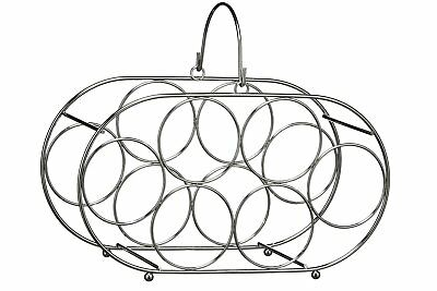 Premier Housewares 6 Bottle Wine Rack with Handle - Chrome