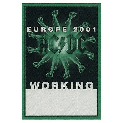 AC/DC authentic Working 2001 tour Backstage Pass
