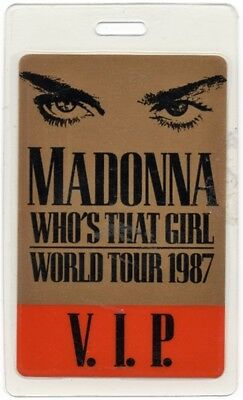 Madonna authentic 1987 concert Laminated Backstage Pass Who's That Girl Tour VIP