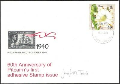 2000, PITCAIRN ISLANDS, 60th ANNIVERSARY OF FIRST POSTAGE STAMP, SIGNED COVER.