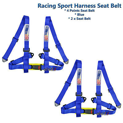 """[Pair] Racing Sports 4_Point [2"""" Inch] Harness Seat Belt Race Safety Belt Blue"""