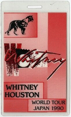 Whitney Houston authentic 1990 concert Laminated Backstage Pass Japan Tour