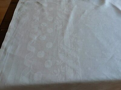 ANCIENNE Nappe N09 damassé de fil de lin 205X198cm OLD LINEN DAMASK TABLECLOTH