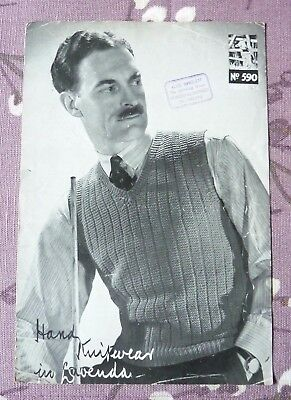 1940s Original Men's Pullover Knitting Pattern,Vintage, With Or Without Sleeves