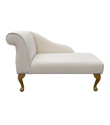 "41"" Small Chaise Longue Lounge Sofa Bench Seat Chair Kenton Fabric Queen Anne UK"