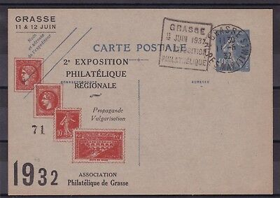 FRANCE entier Postal 1932 - EXPO PHILATELIQUE ILLUSTREE