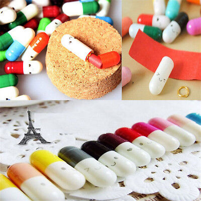 50X Message in a Bottle Capsule Letter Love Friendship Half Color Pills Cute NEW
