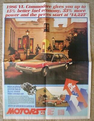 Holden Large Brochure Commodore Etc Motors Tasmania  Gave Out At Show 1986.