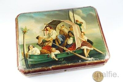 LOVELY ANTIQUE GERMAN SILVER SEWING KIT & HAND PAINTED ETUI / BOX c1840