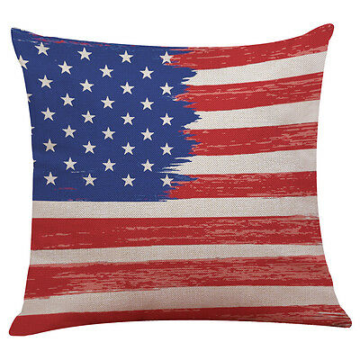 Vintage American Flag Pillow Cases Cotton Linen Sofa Cushion Cover Home Decor D