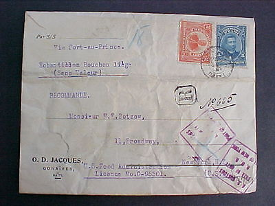 Haiti: Gonaives 1918 Registered Cover to the USA, US Customs Free of Duty