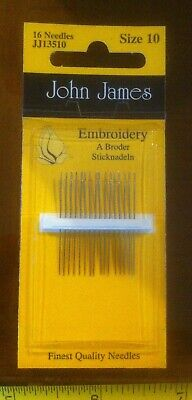John James Size 10 Tapestry Needles x16 Sewing Embroidery New