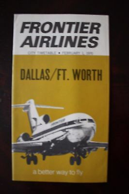 Timetable Flugplan Frontier Airlines Dallas Ft.worth 1970