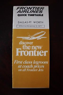 Timetable Flugplan Frontier Airlines Dallas Ft.worth 1977
