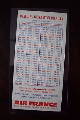 Timetable Air France Berlin Gesamtflugplan 1964