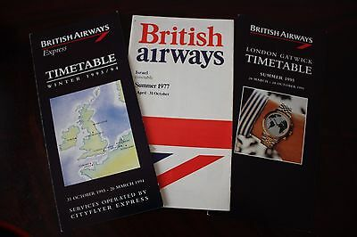 Timetable Flugplan British Airways 1977 1993 1994 1995