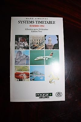 Timetable Flugplan Manx Airlines 1992