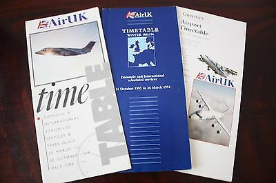 Timetable Flugplan Air Uk 1989 1990 1992